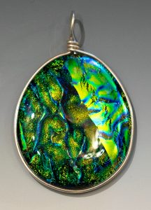 Wire wrapped pendant in Fern Forest