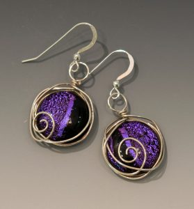 Wire wrapped earrings in Orchid Purple
